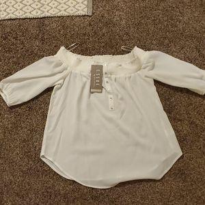New white boho off-shoulder blouse